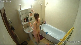 Lisa straightens up the bathroom may 14